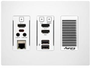 Aurora Multimedia IPX-TC3-WP-C-W 4K HDMI 10Gbps AV-over-IP Transceiver Wall Plate Copper Version (White)