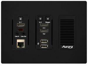 Aurora Multimedia IPX-TC3-WP-F-B 4K HDMI 10Gbps AV-over-IP transceiver Wall Plate Fiber Version (Black)