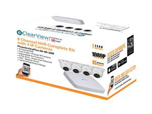 ClearView PhoenixViewPlus-08-4D-2MP 8 Channel NVR Complete Kit with 4x IP 2.0 Megapixel Dome Cameras