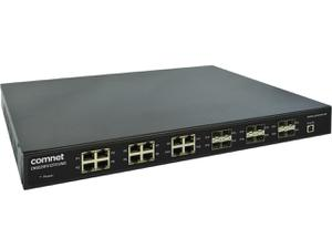 Comnet CNGE24FX12TX12MS/12 Industrial Grade 24 Port Gigabit Managed Ethernet Switch/2x Low Voltage DC Inputs