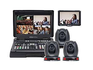 Datavideo HS-1600T-3C140T Portable Streaming/Recording Video Studio with 3x Remote Controlled Cameras and 1x Field Monitor