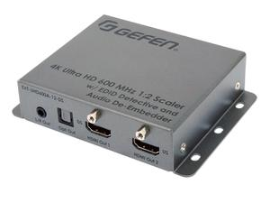 Gefen EXT-UHD600A-12-DS 4K Ultra HD 600 MHz 1x2 Scaler with EDID Detective and Audio De-Embedder