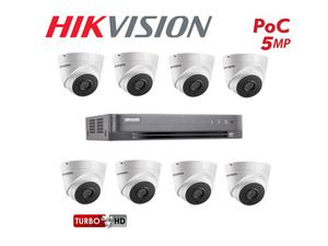 Hikvision DS-7208HQI-K2/P   DS-2CE56H5T-IT3E 8CH TurboHD DVR with 8x 5MP POC Turret Cameras and HDD 6TB Kit