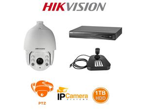 Hikvision HK-7604NI-PTZKB837 4-Ch PoE NVR with 5MP 30x IR Dome PTZ Camera and Joystick USB Controller/1TB HDD