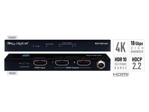 Key Digital KD-DA1x2 1x2 4K/18G HDMI Distribution Amplifier with HDR10/HDCP2.2