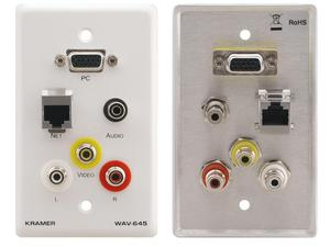 Kramer WAV-645 Passive Wall Plate - VGA/RJ-45/3.5mm Stereo Audio and 3 RCA