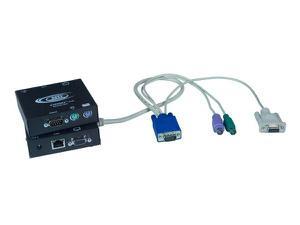 NTI st-c5kvmrs-600 VGA PS/2 KVM Extender (Transmitter/Receiver) Kit with RS232 via CATx to 600ft