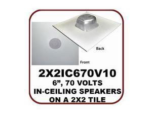 OWI 2X2IC670V10 6.5 inch 2-way 70V In-ceiling Speaker on a 2X2 Full Grill with Backcan/75Hz-20kHz