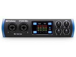 PreSonus Studio 26c The portable affordable ultra-high-def 2X4 USB-C Audio Interface with 2 Mic inputs/24-bit/192kHz