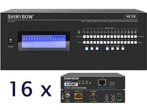 Shinybow SB-5669CK-16x35R4-Kit 16x16 4K UHD HDBaseT Matrix Switcher Kit/1 x SB-5669CK Switch/16 x SB-6335R4 Receivers
