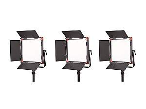 SWIT PL-E60A 3-light Kit 12x12 inch Bi-Color Smd Panel Led Light Kit with Gold Mount/Tripod/Trolley case
