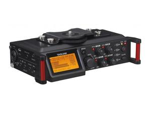 TASCAM DR-70D 4-track Portable Audio Recorder for DSLR with XLR Inputs and a Stereo Mic