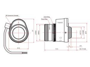 ViewZ VZ-B612VDC 1/2 inch Vari-Focal with DC Auto-Iris 6-12mm F1.4 - C-Mount